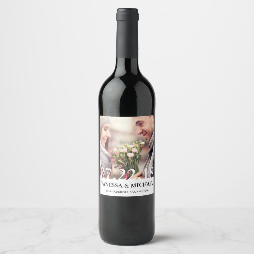 Chic Overlay Wedding Favor Photo Wine Labels