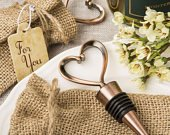 Heart Bottle Stopper Wedding Favor Bronze Gold Heart Shape Bottle Stopper Wedding Favors w Burlap Bag Vintage one heart Gold bottle Stopper
