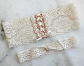 Corset Wedding Garter Set, Gold, Rose Gold, Black, Silver, Ivory Lace Bridal Garter, Vintage Garters, Wedding Garter, Adjustable Garter