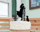 Wedding Cake Topper with Dog Personalized Silhouette, Bride and Groom Cake Topper, MADE In USA,