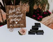 Polaroid Guest Book Sign Rustic Wedding Signs Wooden Wedding Signs Shake It Like A Polaroid Picture Wedding Guest Book