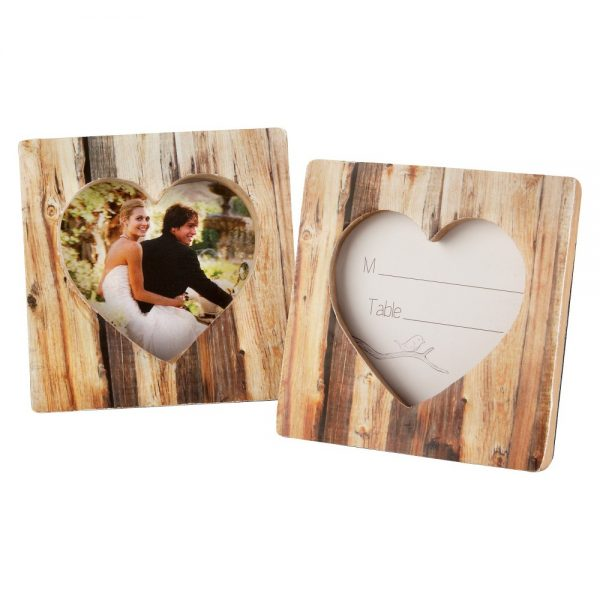 "12ct Kate Aspen ""Rustic Romance"" Faux-Wood Heart Place Card Holder/Photo Frame, Wood"