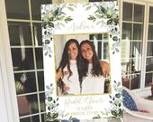 Photo Prop Frame Printable, Boho Greenery Bridal Shower Photo Booth Frame Template, Succulent Photo Prop Frame, Rustic Shower Frame Backdrop