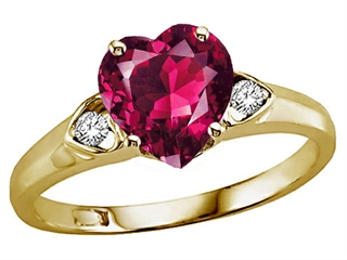 Tommaso Design™ Heart Shape 8mm Created Ruby and Genuine Diamond Engagement Promise Ring