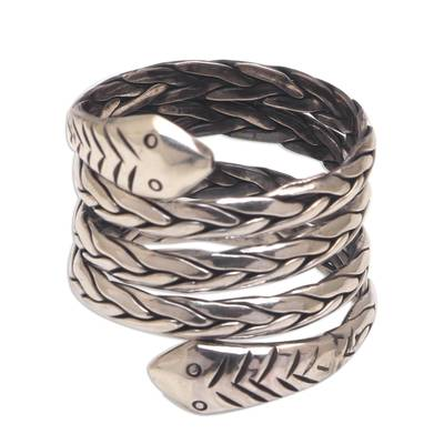 Sterling Silver Snake Wrap Ring from Bali