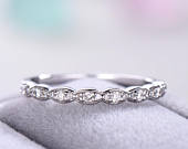 CZ Wedding Band 14k White Gold 925 Sterling Silver Half Eternity Antique Cubic Zirconia Bridal Anniversary Gift Women Stacking Matching Set