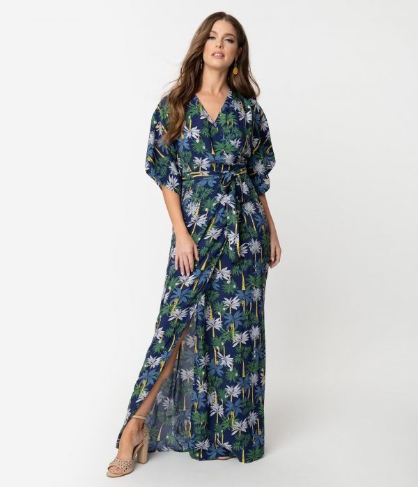 Collectif Navy Blue Palm Tree Print Faux Wrap Kelly Maxi Dress