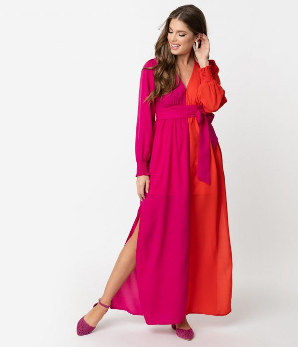 1970S Style Fuchsia & Orange Crepe Long Sleeve Maxi Dress