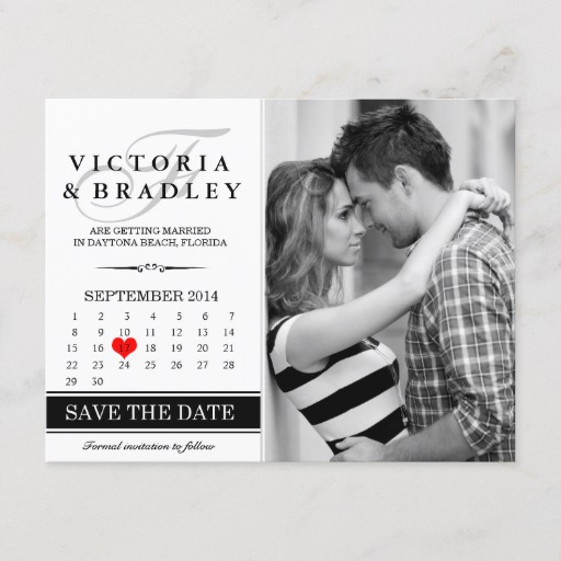 Calendar Save The Date Photo Postcard