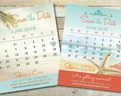 Magnet Save Date, Calendar Wedding Date, Coral Aqua Blue, Custom Colors