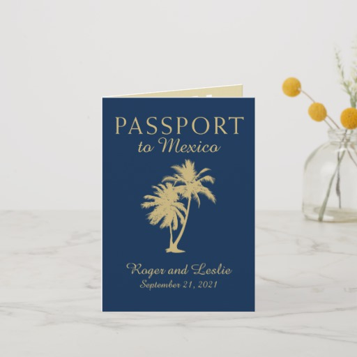 Navy Blue Gold Cancun Mexico Wedding Passport Invitation
