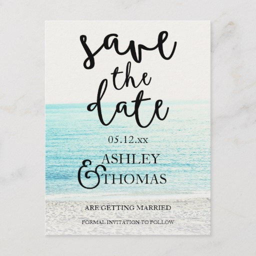 Save the Date beach photography typography wedding Announcement Postcard