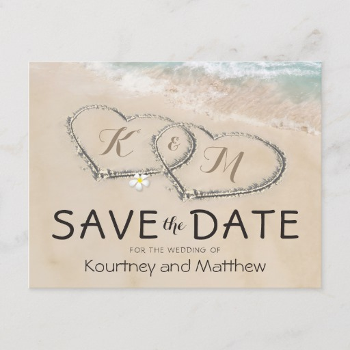 Tropical Vintage Beach Heart Shore Save the Date Announcement Postcard