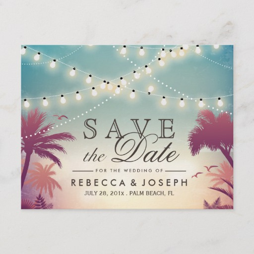 Palm Beach String Lights Wedding Save the Date Announcement Postcard