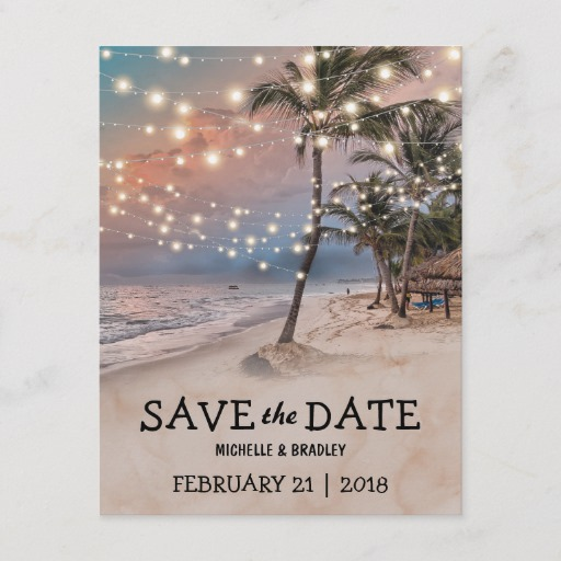 Tropical Vintage Beach Lights Save the Date Announcement Postcard