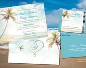 Beach Ceremony Wedding Invites in Turquouise, Gold Destination Wedding Sand Sun Mexico Cabo Punta Cana Jamaica Boarding pass reply