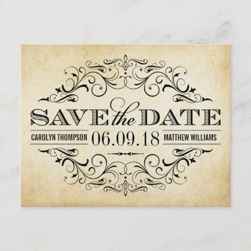 Vintage Wedding Save the Date Swirl and Flourish Announcement Postcard