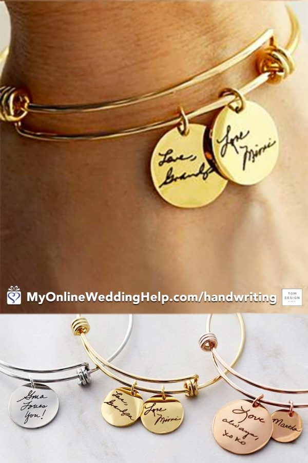 Handwriting name charm bracelet. She puts your actual handwriting on disks. Up to four disks on each bracelet. Cute as bridesmaids gifts. Or a special thank you to the mother of bride or mother of the groom. Learn more or buy in the My Online Wedding Help products section. Starts at $38.00 ($48.00 as shown) #HandwritingJewelry #BridesmaidsGift #Bracelet