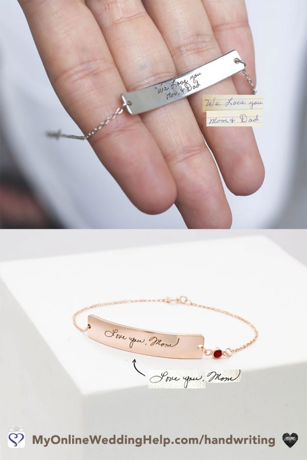 This actual signature message bracelet would be nice as a wedding jewelry gift to the bride from her mom. Or as an engraved friendship bracelet to the bridesmaids. Learn more or buy in the My Online Wedding Help products section. #MessageBracelet #WeddingJewelry #GiftJewelry
