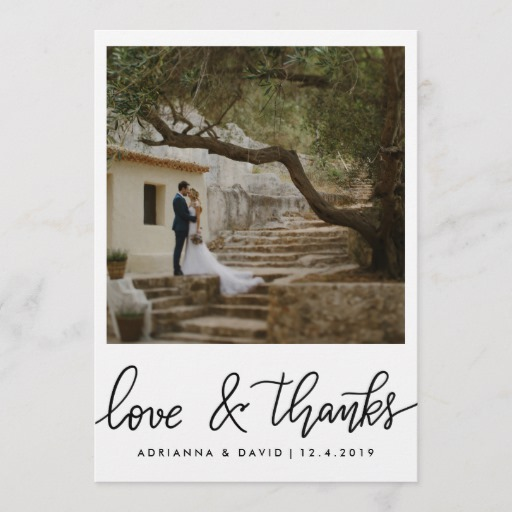 Couple Photo Wedding Love And Thanks Script Thank You Card