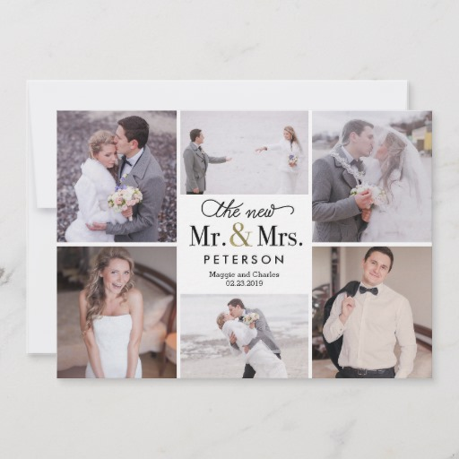 New Mr and Mrs Wedding Photo Thank You Card