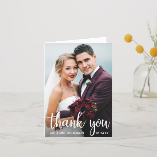 Thank You Wedding Photo Modern Script Note Card