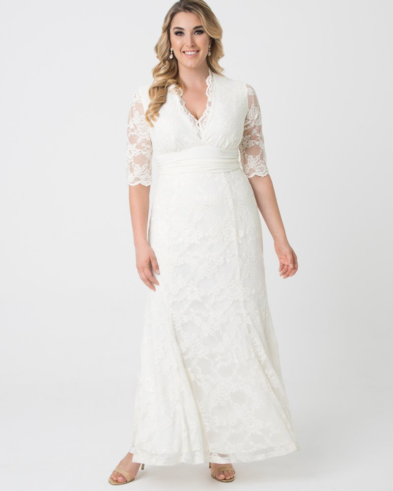 Kiyonna Womens Plus Size Amour Lace Wedding Gown - Sample Sale