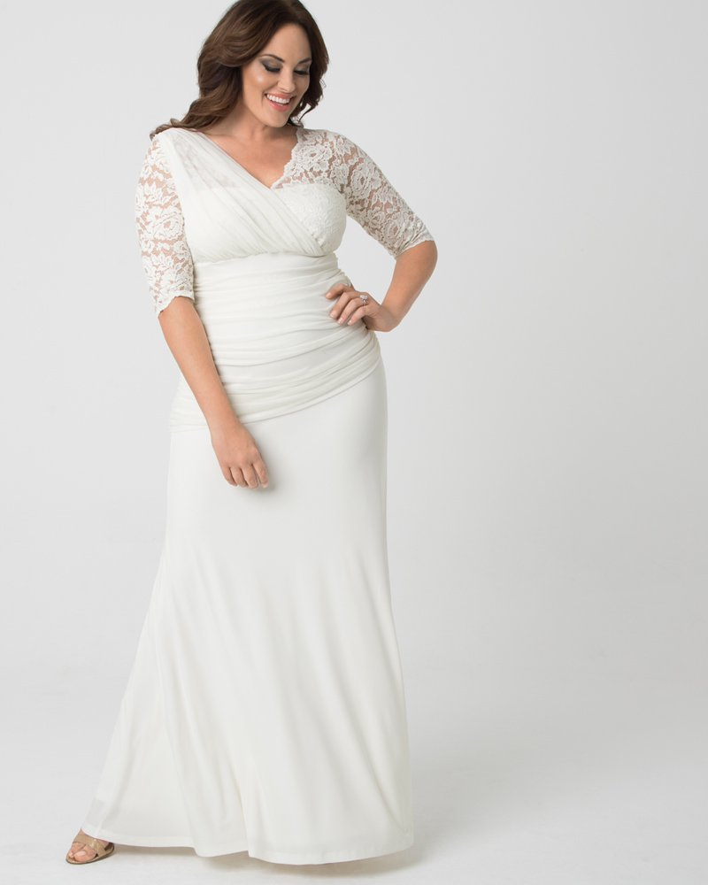 Kiyonna Womens Plus Size Elegant Aisle Wedding Gown - Sample Sale