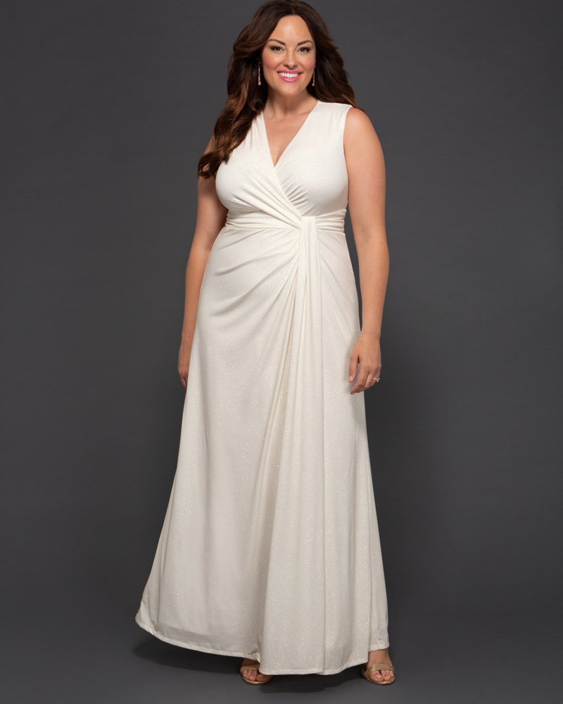 Kiyonna Womens Plus Size Gilded by Moonlight Wedding Gown - Sample Sale