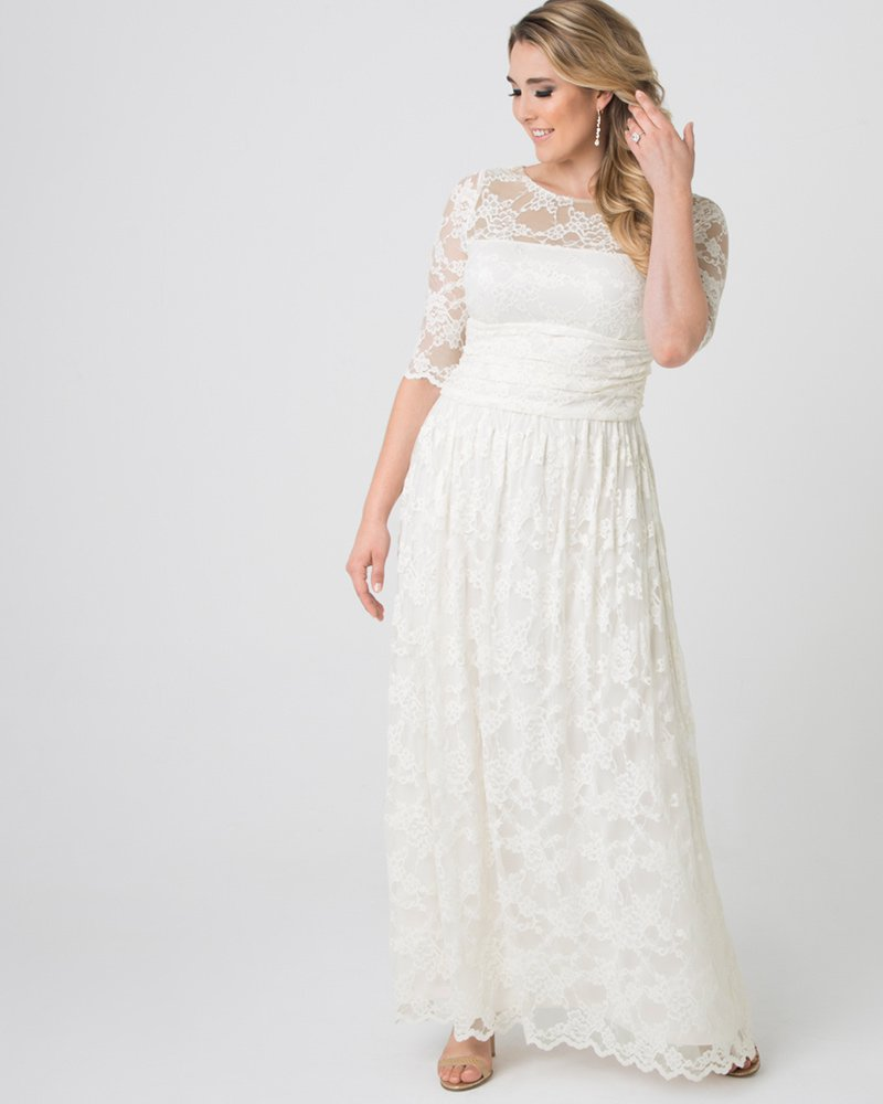 Kiyonna Womens Plus Size Lace Illusion Wedding Gown - Sample Sale