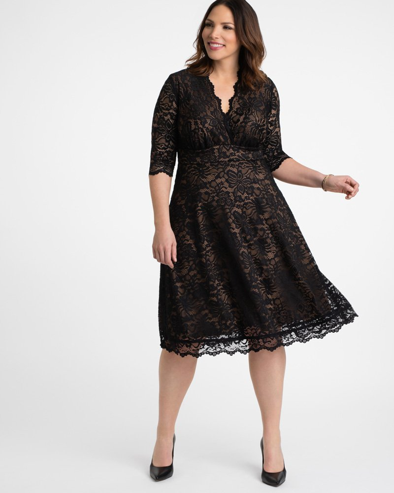 Kiyonna Womens Plus Size Mademoiselle Lace Dress