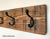 Entryway Coat Hooks Distressed Solid Pine with 8 Double Hooks Rustic Wall Coat Rack Free Shipping Great Mothers Day Gift!