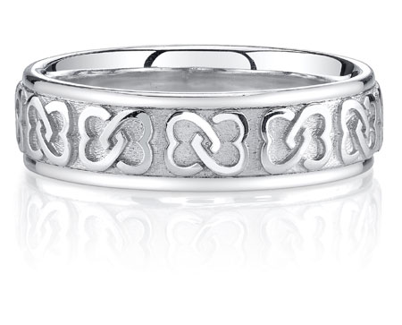 Interlaced Celtic Heart Knot Wedding Band Ring, 14K White Gold