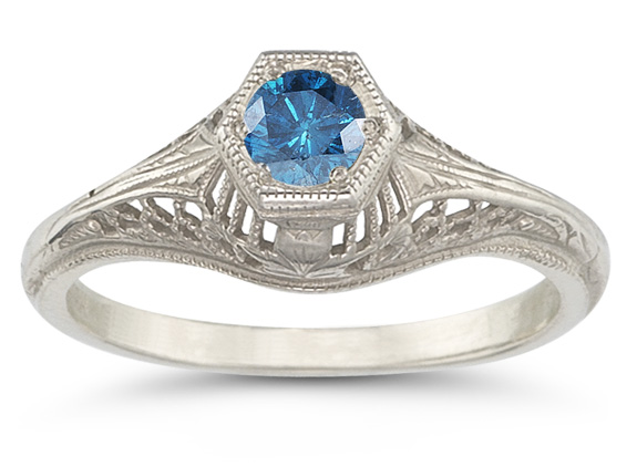Vintage Art Deco London Blue Topaz Ring in .925 Sterling Silver