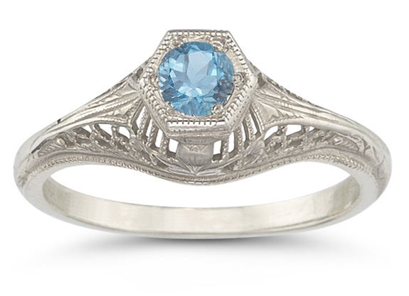 Vintage Art Deco Blue Topaz Ring in .925 Sterling Silver