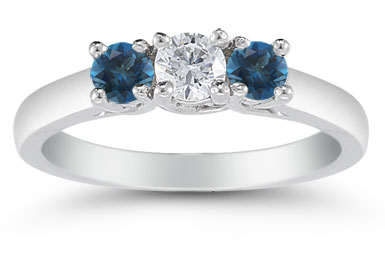 Three Stone Diamond and London Blue Topaz Ring, 14K White Gold