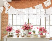 SALE (each 20 feet) Wedding Garland Banner AMOR VARIETY Papel Picado Fiesta Wedding Flags Mexican Hand Cut Tissue Paper Flags