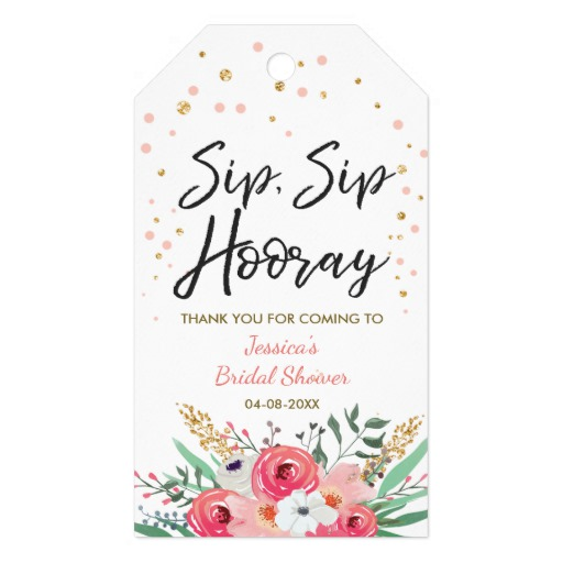 Sip Sip Hooray tags Wine labels Bridal Shower Gold