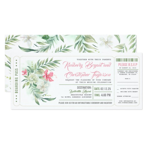 Boarding Pass Floral Beach Wedding Ticket Invitation
