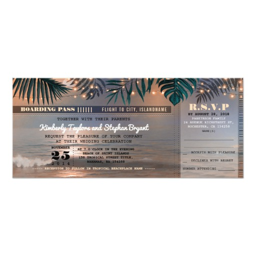 Boarding Pass Tropical Beach Lights Wedding Ticket Invitation