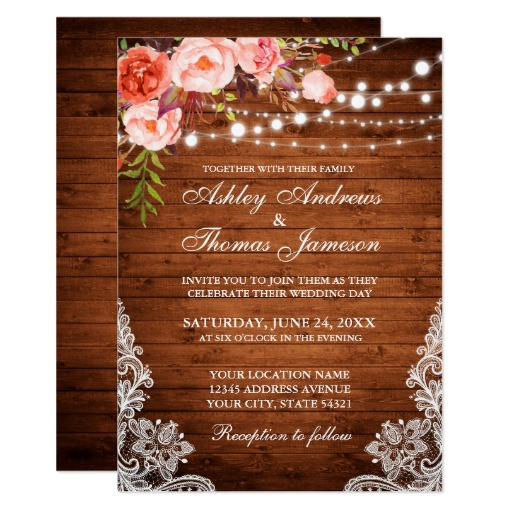 Coral Floral Rustic Wedding Wood Lights Lace Invitation