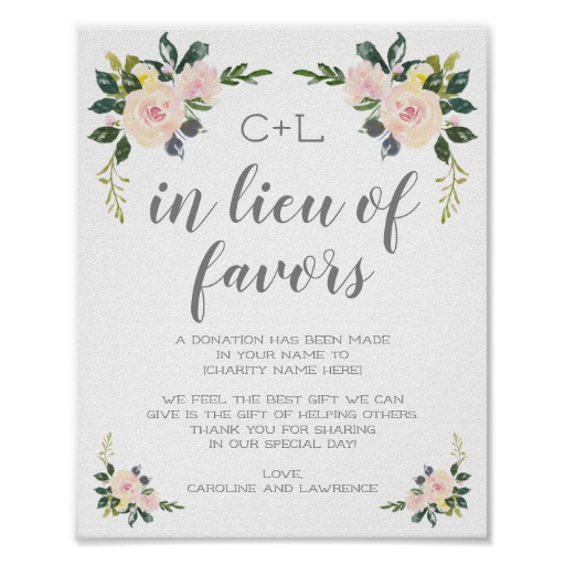 Spring Floral Blush In Lieu of Wedding Favors Sign