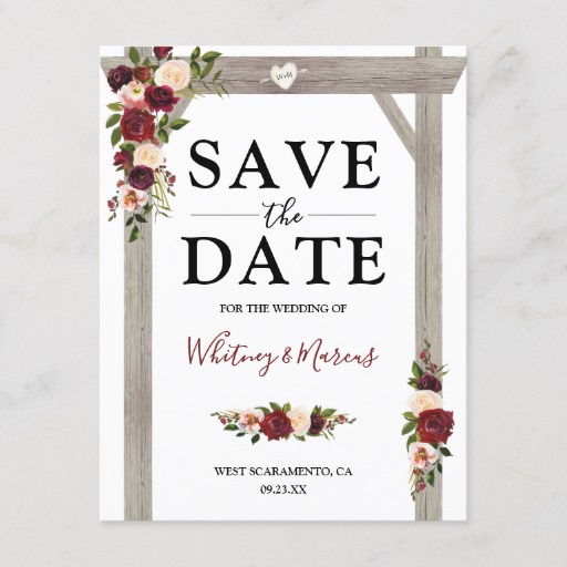 Rustic Burgundy Blush Floral Boho Save the Date Announcement Postcard