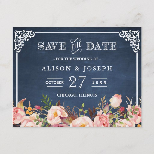 Navy Blue Chalkboard Floral Wedding Save the Date Announcement Postcard