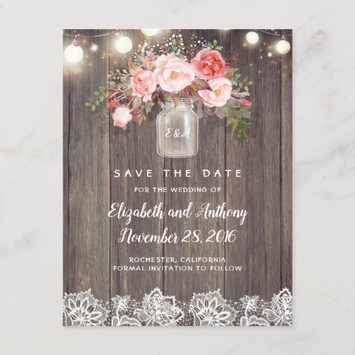 Rustic Floral Pink Save the Date Announcement Postcard
