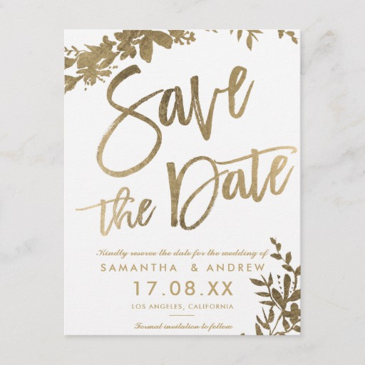 Gold typography floral white save the date Announcement Postcard