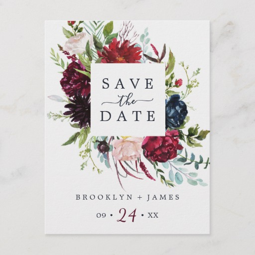 Autumn Garden Burgundy Save the Date Postcard