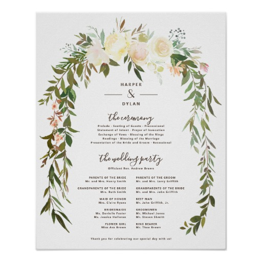 Lovely Florals Wedding Ceremony Program Sign