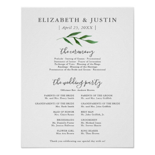 Lush Leaves Elegant Wedding Ceremony Program Sign