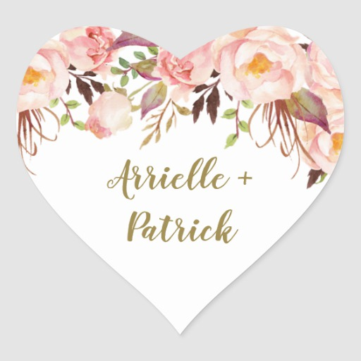 Peony Blush Pink and Gold Wedding Favor Stickers